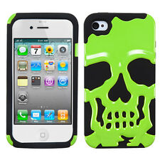 APPLE iPHONE 4 4S SKULLCAP HARD COVER+SILICONE HYBRID CASE GREEN/BLACK
