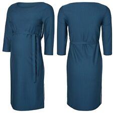 UK Women's New Maternity 3/4 Sleeve Blue/Teal Striped Midi Dress RRP £42 - M