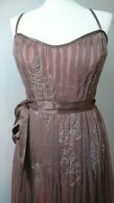 Monsoon pure silk pleated dress size 12 pink brown floral embroidered