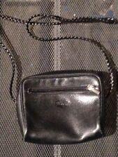 Longchamp pochettecuir noir grainé carré bandoulière cuir tressé vintage 80
