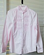 Banana Republic Baby Pink Cotton Candy Micro Striped LS Career Blouse Size 6P