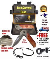 Extra Large Browning DA52 Fold Knife  Free Fire Starter Necklace and Carry Case
