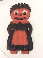 vtg germany Halloween JOL Maid  DieCut die cut jack o lantern pumpkin
