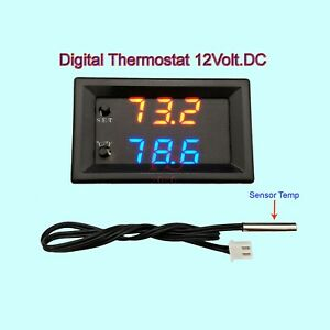 Digital LED Microcomputer Thermostat Controller Switch Temperature Sensor 12v