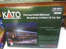 "KATO 106-069-1 PRR BROADWAY LIMITED 10 CAR SET ""KOBO"" FACTORY LIGHTING   N SCALE"