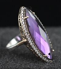TURKISH HANDMADE AMETHYST STERLING SILVER 925K AND BRONZE RING SİZE 7,8,9