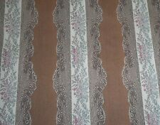 Vintage Belgium Printed French Lisere Floral Brocade Jacquard Fabric ~ Brown