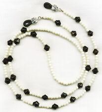 Black & Cream~Ivory Beaded Eyeglass-Glasses Holder Leash Necklace Chain