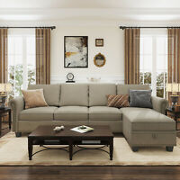 Sectional Sofa Convertible Couch L Shape Sofa Couch 4-seat Dark Khaki