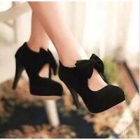 Women lady Retro Faux Suede Bow Tie High Heel Platform Pumps Court Shoes Fashion