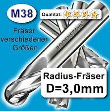 Radius-Fräser R1,5x75mm, D=3mm, Schaftfräser, M38, vergl. HSSE, HSS-E