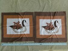 Set TWO Canada Goose fabric panels quilt top NEW Holiday Deco - Browns oranges