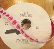 """VINTAGE WHITE CHANTILLY LACE & RED RIBBON TRIM SEWING CRAFTS 15+ YARDS .75"""" NOS"""