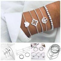 5Pcs/Set Women Love Heart Hollow Tree Number 8 Bead Bracelet Jewelry Gift New
