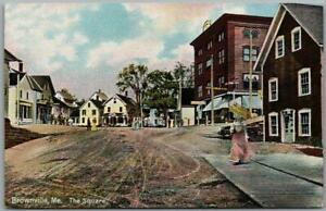 """Brownville, Maine Postcard """"The Square"""" Downtown Street Scene Leighton c1910s"""