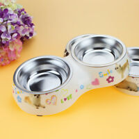 Dog Double Bowl Food Feeder Removable Stainless Steel With Plastic Base Pet Dish