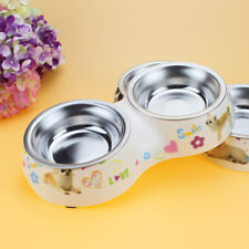 Dog Food Feeder Double Bowl Removable Stainless Steel With Plastic Base Pet Dish