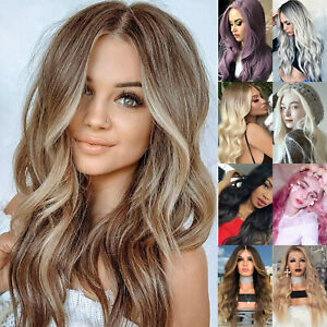 Women Ombre Long Curly Wigs Wavy Hair Full Head Party Natural Blonde Hair Wig