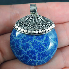 BLUE Coloured CORAL & 925 Sterling Silver Pendant Jewellery, SMALL