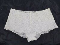 Vintage Stretchy White Sheer Floral Lace Briefs Panty Panties Large