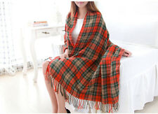 Women's Fashion Winter Long Soft Plaid Warm Cashmere-like Tartan Shawl Scarf