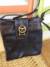 womens purses and handbags/Tignanello Black And Brown Leather Cross Body Purse