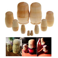 5X Dolls Wooden Russian Nesting Babushka Matryoshka Hand Unpainted Toy Cute