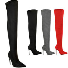 Womens Ladies Thigh High Boots Over The Knee Boots Sexy Studded Rock Heels Size