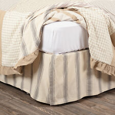 """Vhc Farmhouse Bed Skirt Dust Ruffle King Queen Twin Cotton 16"""" Drop Creme Grey"""