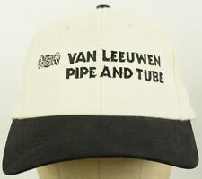 Van Leeuwen Pipe & Tube White Baseball Hat Cap Black Bill Cloth Adjustable Strap