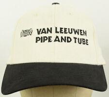 Van Leeuwen Pipe & Tube White Baseball Hat Cap Black Bill Cloth Adjustable Strap