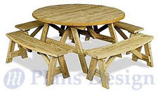 Classic Round Picnic Table Set Woodworking Plans / Pattern #ODF13