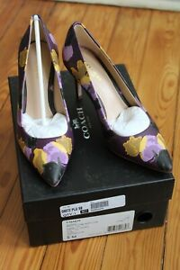 NIB Coach 5 B Smith Leather Purple Floral Pointed Toe Heels Pumps