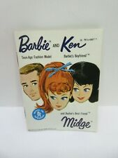 Vintage Mattel Barbie, Ken Midge Doll White Mini Fashion Booklet Catalog, 1962!