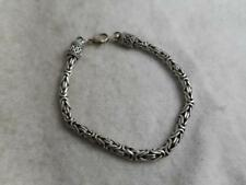 """SIGNED ETRUSCAN STERLING SILVER WOVEN 8"""" CHAIN BRACELET W/ WIRE WORK ENDCAPS"""
