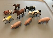 Plastic Farm Animals Lot Of 9 Farmhouse Farm Children's Toys Goat Pig Horse Cows
