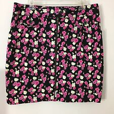 Nicole Miller Skirt Size 14 Exposed Zipper Pleated Pockets with Buttons Stretch