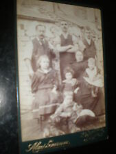 Old cabinet photograph working family outside with dog Cardiff c1900s