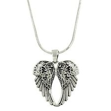 Angel Wings Necklace Pendant Charm Textured Metal Pave Rhinestones SILVER Bless