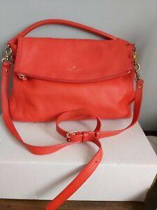 KATE SPADE Red Leather Shoulder Bag Medium Handbag AUTHENTIC