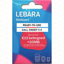 Anonymous Activated SIM card Lebara NL max 15 € Credit Netherlands Ready-to-use