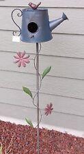 """51"""" Watering Can Design Design Garden Stake Birdhouse Bird House Garden Decor"""