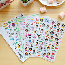 4 Sheet/Pack Girl Daily Life Travel Sticker Scrapbooking Diary Photo Album Decor