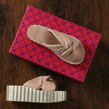 Tory Burch Knotted Scallop Biege Blush Wedge Platform Slides Sandals - Size 6
