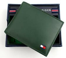 GENUINE TOMMY HILFIGER MEN'S PREMIUM LEATHER CARD ID WALLET BILLFOLD GREEN