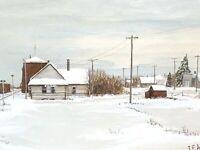 Vintage 1973 Original Painting Grain Elevators & Railway Station Signed Joe Acs