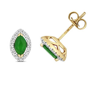 9ct Yellow Gold Marquis Emerald and Diamond Cluster Earrings (266)