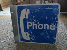 double sided phone booth flange advertising telephone company original old sign