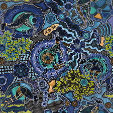 Fabri-Quilt Walkabout II Kangaroos Blue Premium 100% cotton Fabric by the yard
