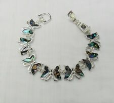 Butterfly Charm Bracelet Magnetic Clasp Abalone Shell Inlay NEW